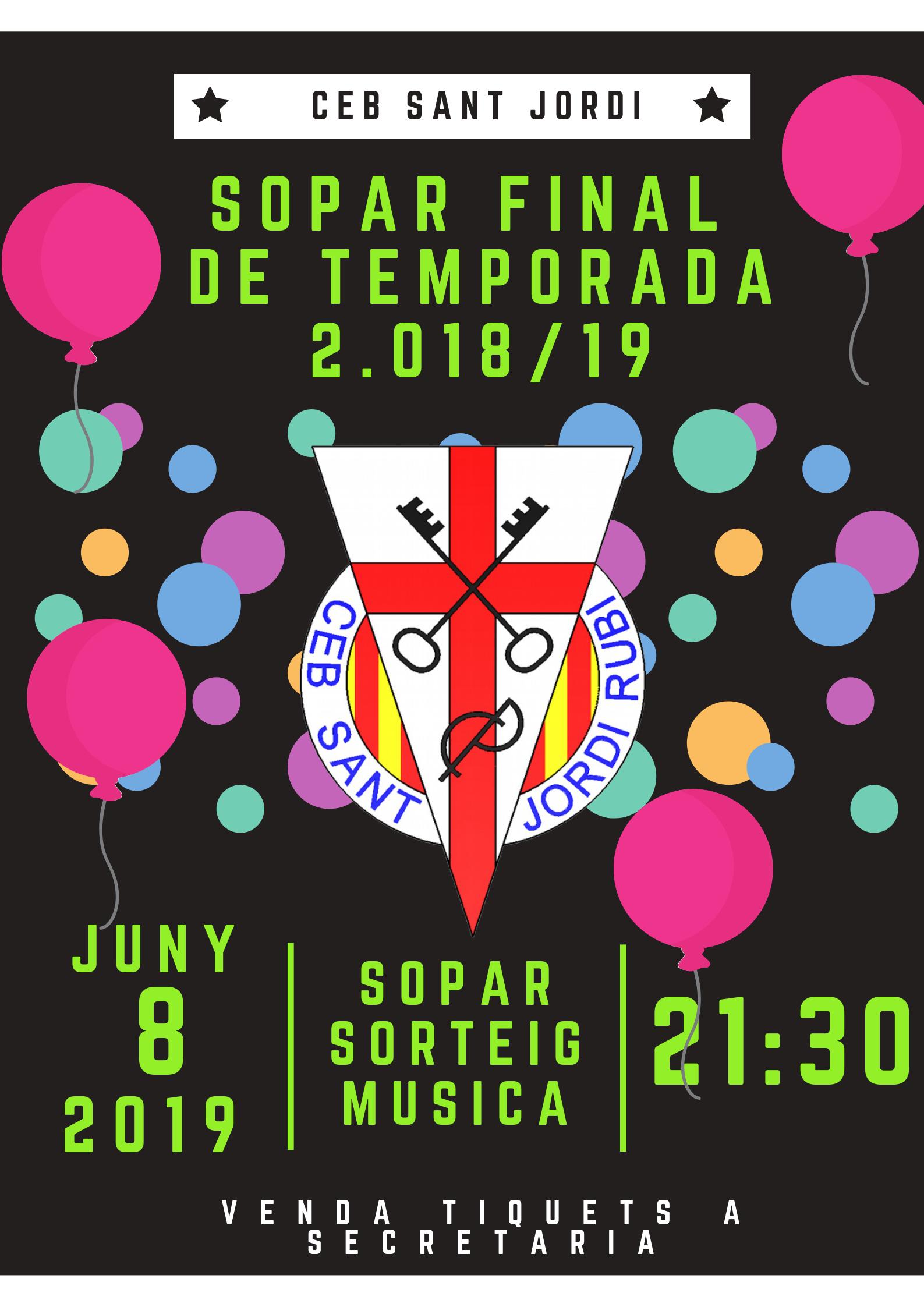 SOPAR CLOENDA TEMPORADA 2018-2019